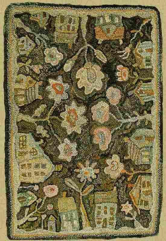 Houses and flowers hooked rug hooked rugs Pinterest Bordado