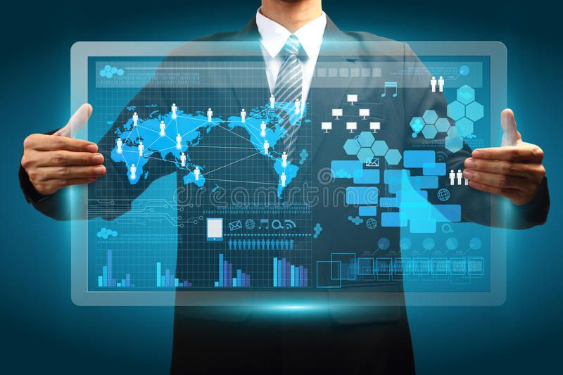 Hand holding digital vurtual screen technology business