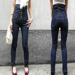 Fashionable Special Waist Design Dark Blue Elastic Jeans For Women