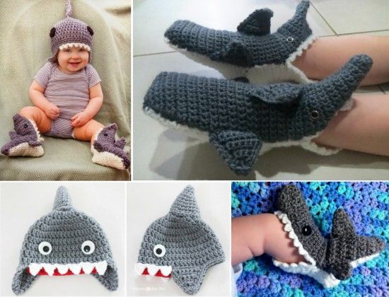 Shark Crochet Hat and Slippers Free Patterns