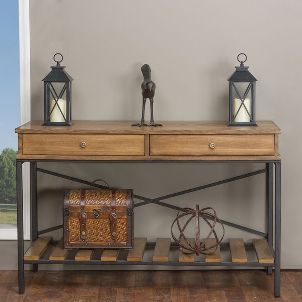 Metal Foyer Bench : Baxton studio newcastle industrial rustic wood and metal