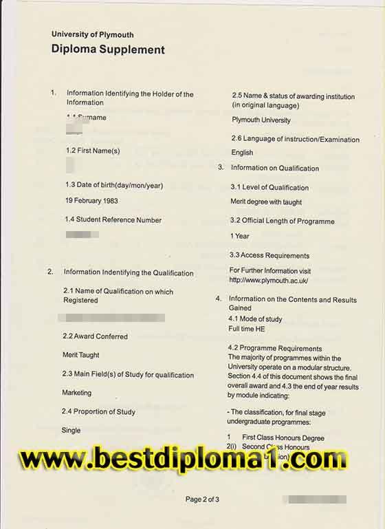 Buy University of Plymouth Diploma Supplement Skype bestdiploma - 2 1 degree