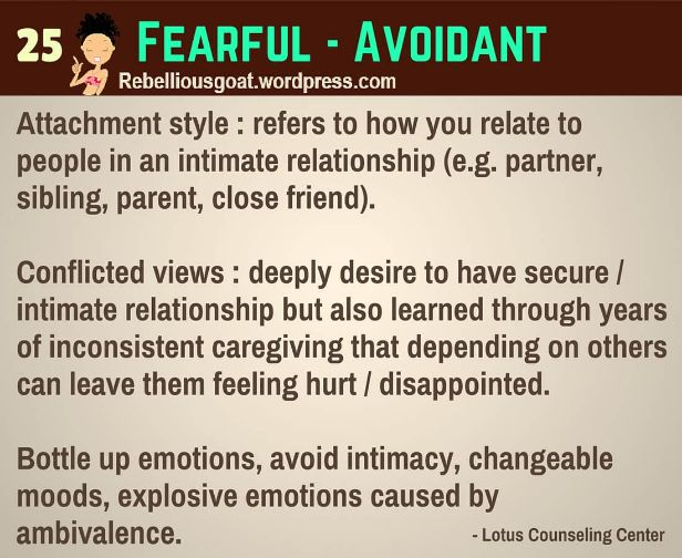 adults disorder Avoidant attachment symptoms