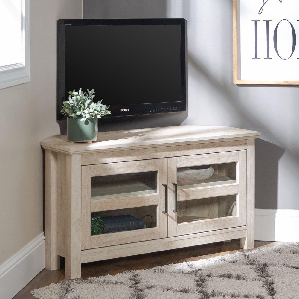 Modern Farmhouse 44 Inch Wood Corner TV Stand White Oak