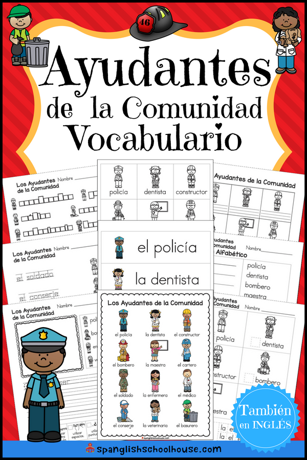 Ayudantes Vocabulario {Spanish Community Helpers Vocabulary ...