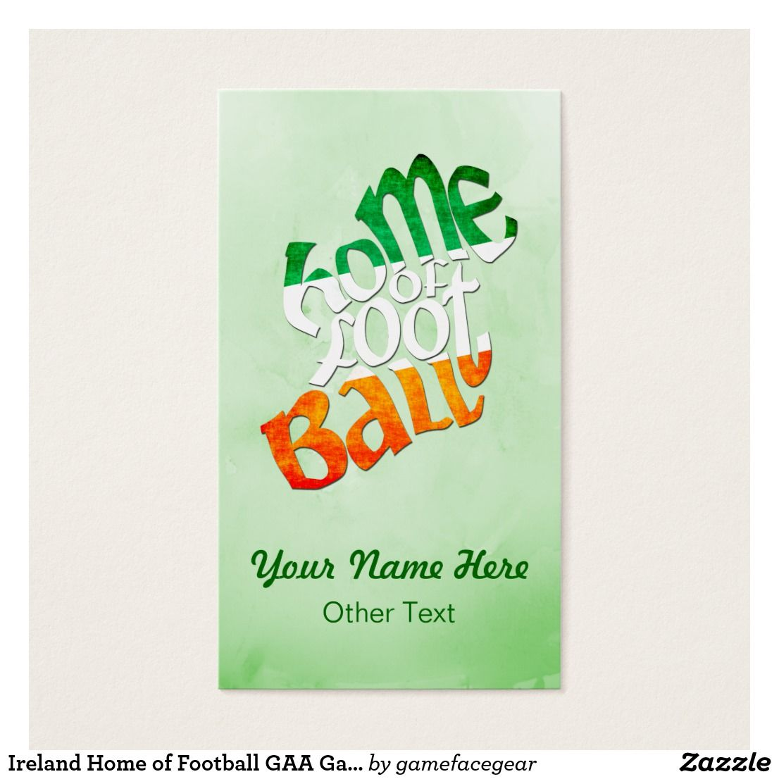 Ireland home of football gaa gaelic business cards spiffy sports ireland home of football gaa gaelic business cards easy to customize sports business cards use the text boxes to add your own text colourmoves