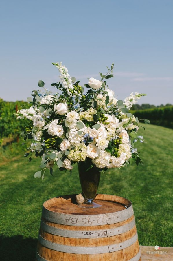 Classic + romantic outdoor florals: http://www.stylemepretty.com/connecticut-weddings/stonington/2016/01/07/rustic-romantic-connecticut-vineyard-wedding/ | Photography: Readyluck - http://readyluck.com/