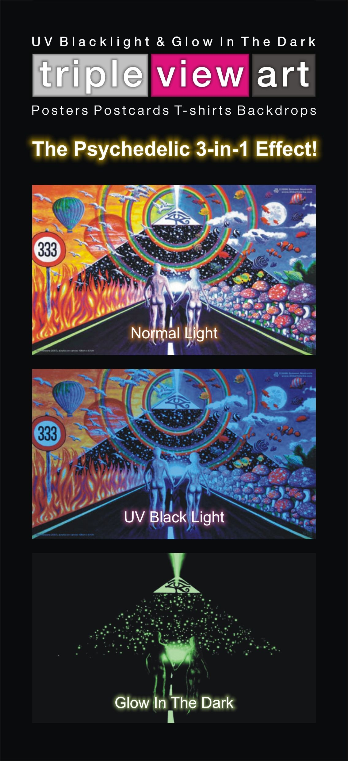 Psychedelic Couple Love Way Poster UV Black Light Fluorescent Glow In The Dark