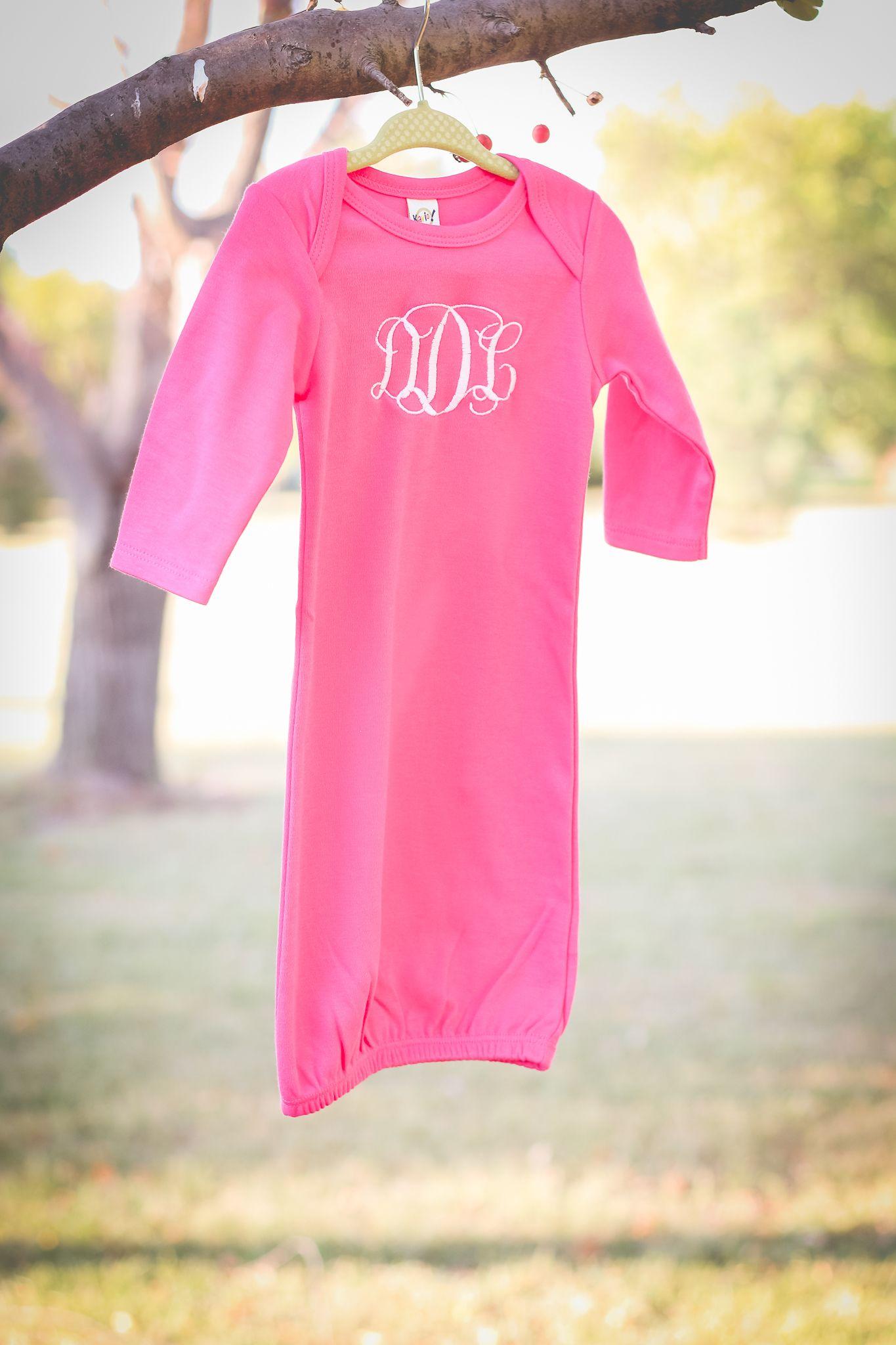 Monogrammed Baby Gown | Newborn Gown | Baby Girl Layette | Baby ...