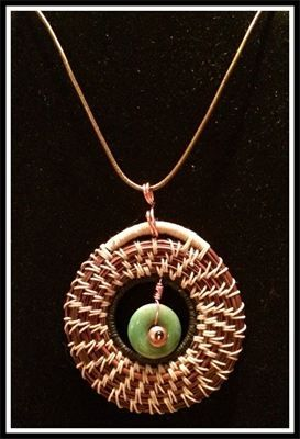 Pendant, Necklace, Pine Needles, Jade Stone : Pine needle pendant with Jade Stone center. Learn to make pendants in my workshops. Available on my etsy page.