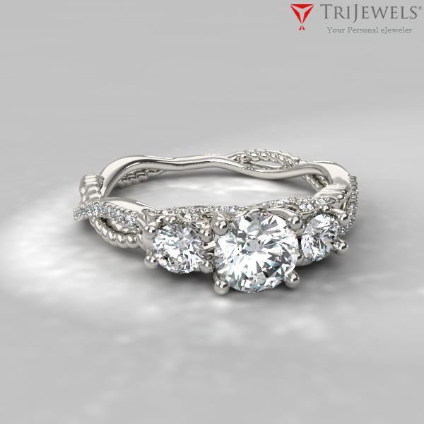 Alika Signature Three Stone Engagement Ring Engagementring Weddingring Engagement Rings Twisted Three Stone Engagement Rings Aquamarine Engagement Ring