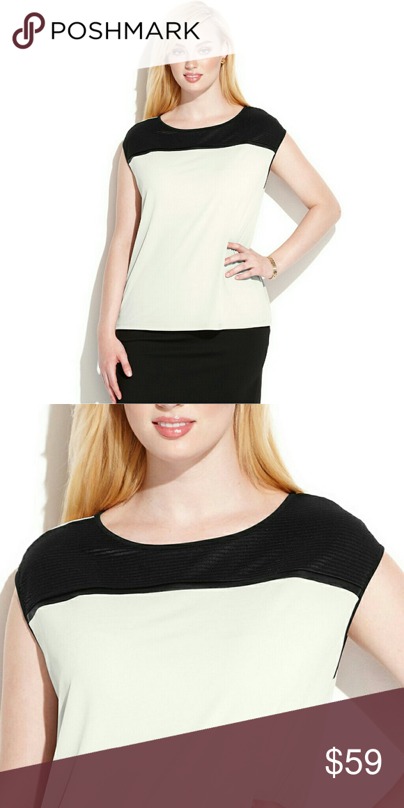 476cf996ddee4 Calvin Klein Colorblock Plus Size Top Blouse Step up your look this season  in Calvin Klein s plus size sleeveless top