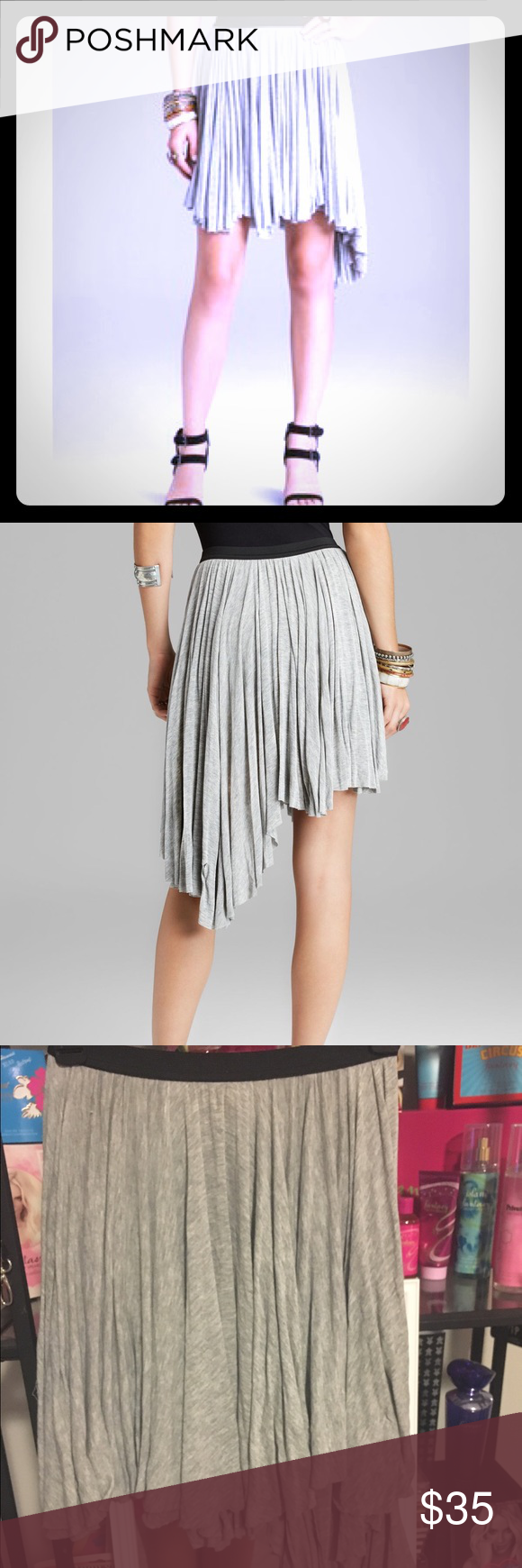 Free People Last Chance Skirt- Heather Gray Asymmetrical skirt by FP! Grey color, super pretty for work or play. Built in slip, so it is not sheer :) perfect condition. Can provide measurements upon request! Free People Skirts Mini