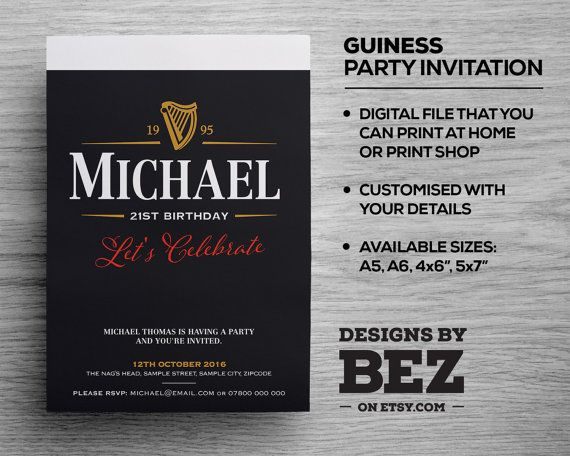 Guiness Style Party Invite