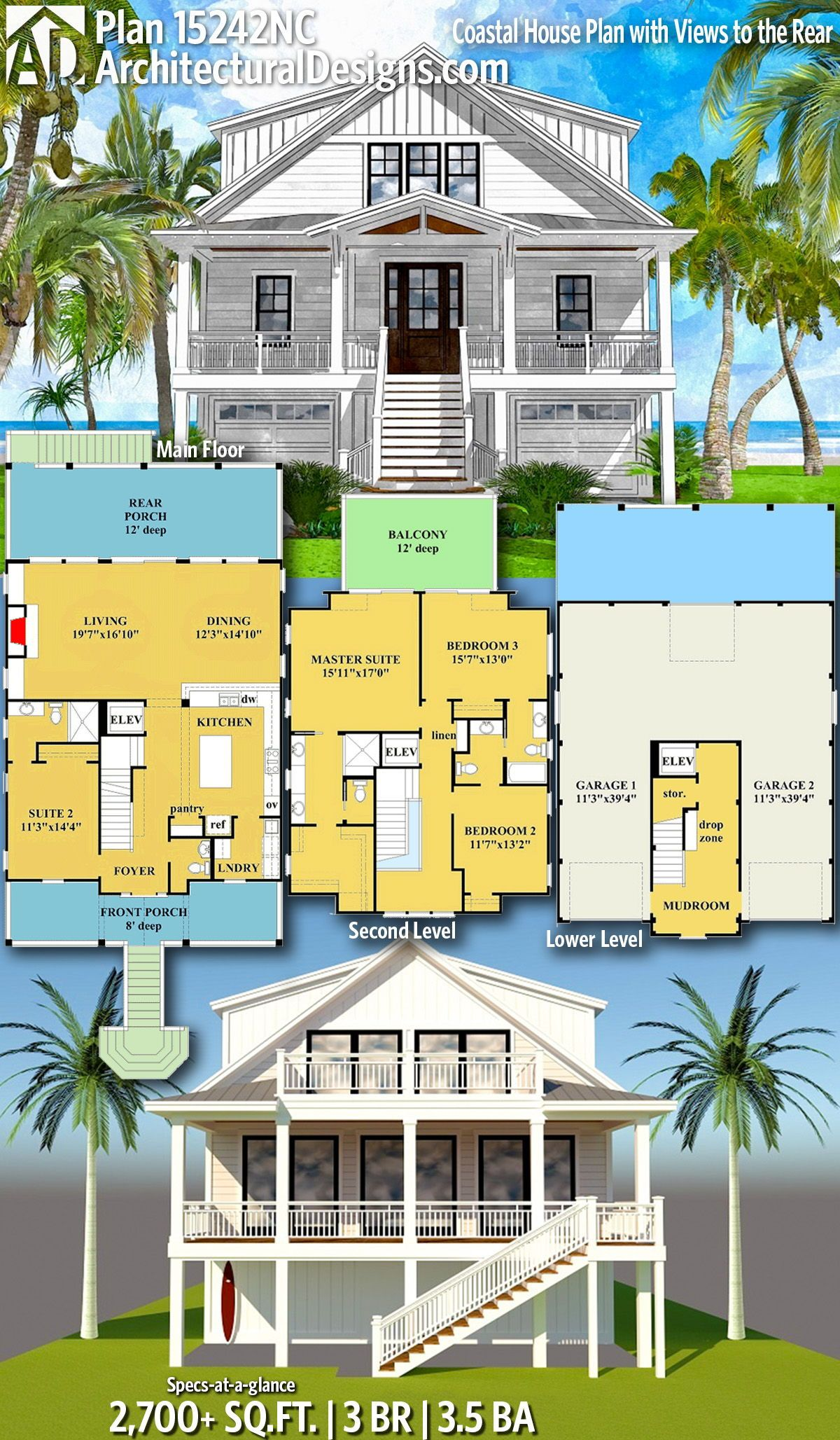 Plan 15242nc Coastal House Plan With Views To The Rear In 2020 Beach House Floor Plans Coastal House Plans Beach Cottage House Plans
