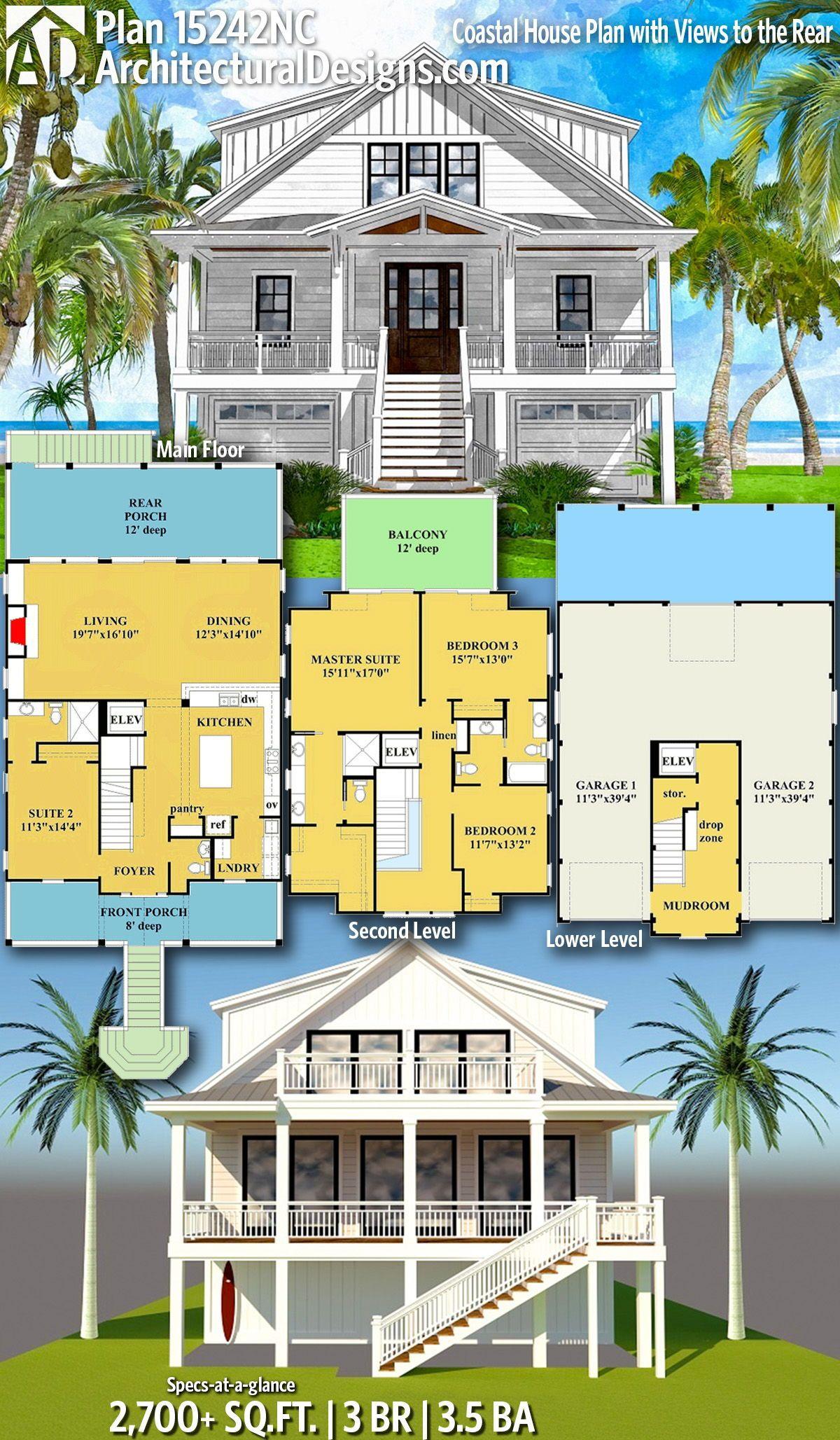 Plan 15242nc Coastal House Plan With Views To The Rear Beach House Floor Plans Beach Cottage House Plans Coastal House Plans