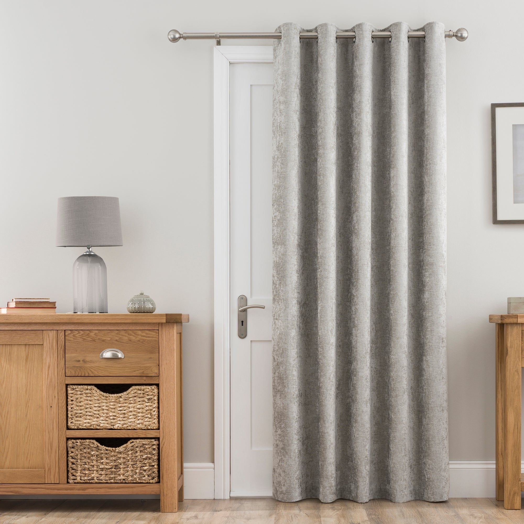 Chenille Silver Thermal Eyelet Door Curtain Door Curtains Curtains Grey Eyelet Curtains