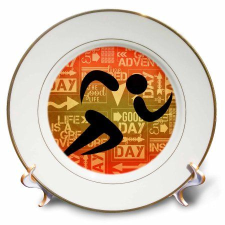 3dRose Marathon Runner Silhouette with Sunset Hues and Adventure Word Art, Porcelain Plate, 8-inch