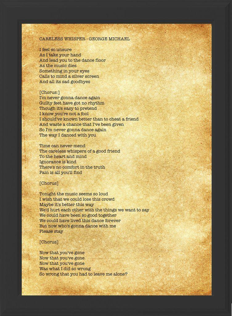 Lyric i want this more than life lyrics : GEORGE MICHAEL - CARELESS WHISPER LYRICS! (black frame) | George ...