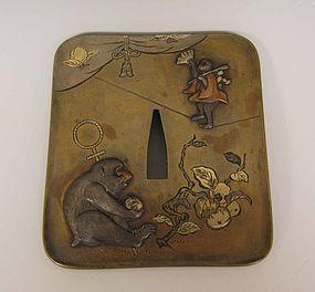 Sentoku Tsuba with Macaques and Persimmon