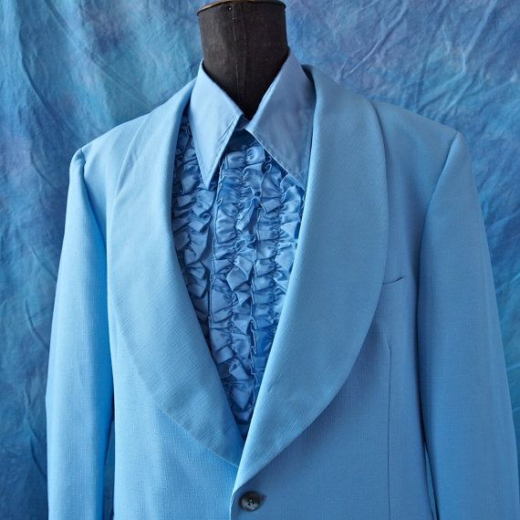 After Six 70\'s Baby Blue Prom Tuxedo Wide Lapels Jacket size 41 ...