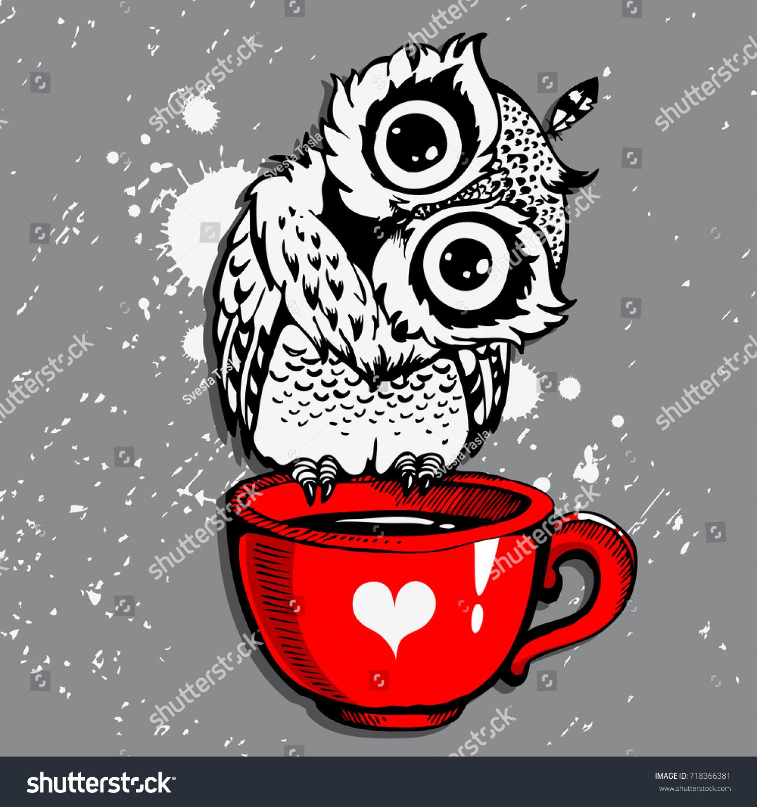 5644537e0 Cute Owl/Vector Owl/cartoon bird/t-shirt design owl/ grunge background with  bird / owl hipster print/owl character/Owl with coffee/hand drawn owl