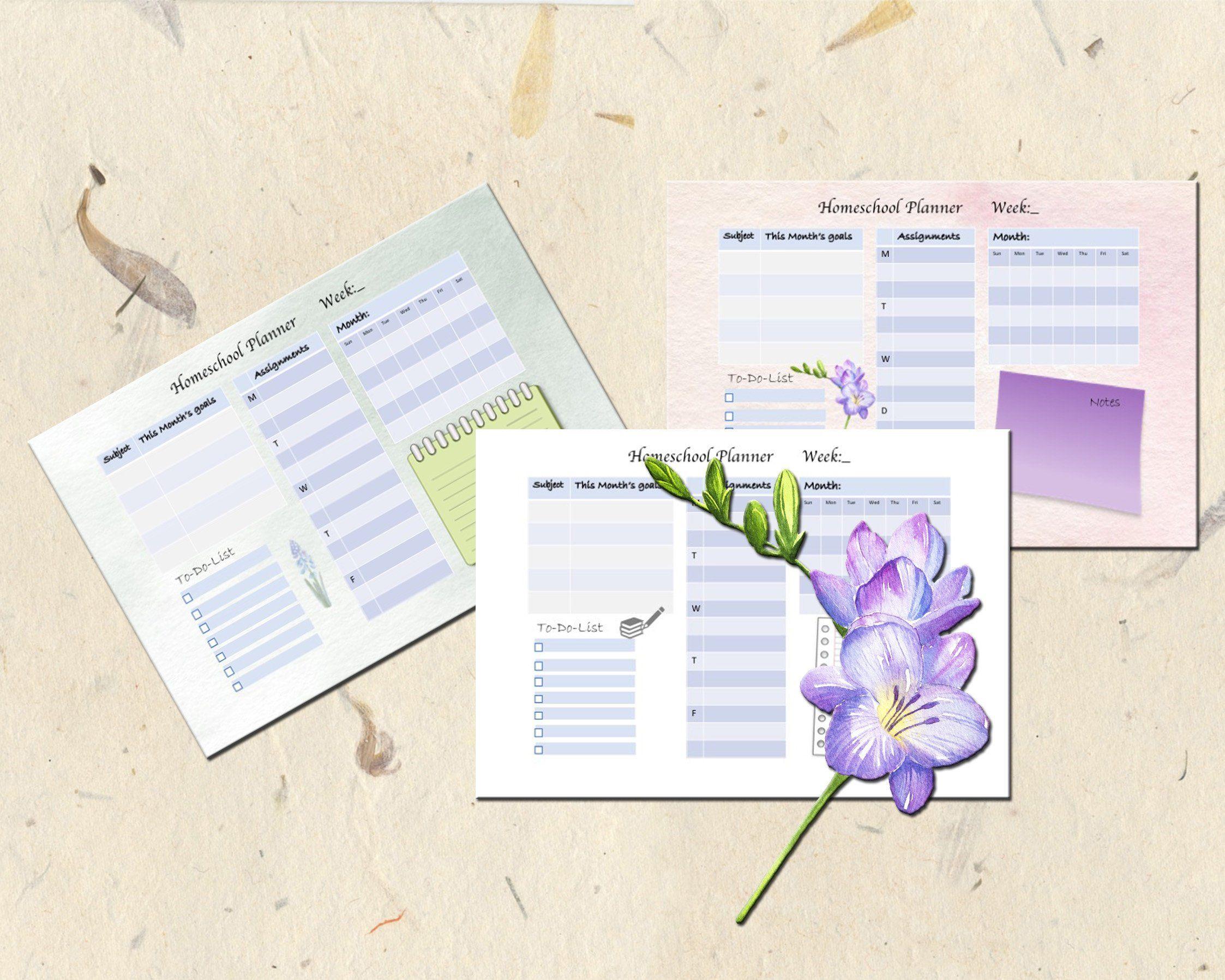 Homeschool Weekly Planner Worksheet Printable