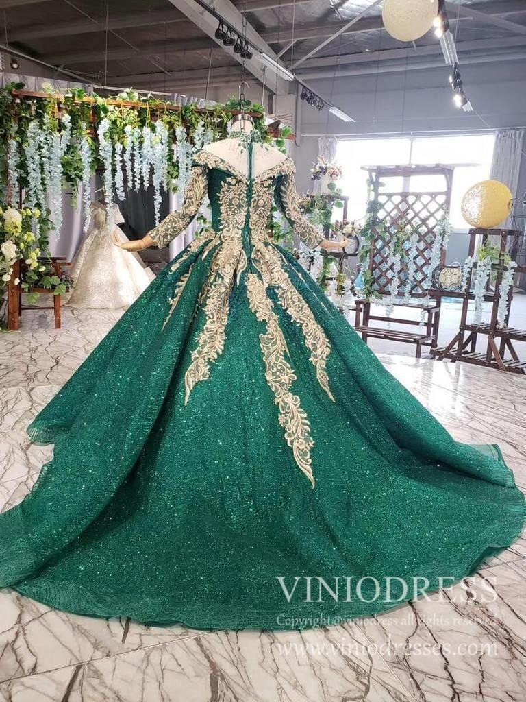 Luxury Long Sleeve Emerald Green Debut Dresses Beaded High Neck Quince Dress Fd1877 In 2021 Quinceanera Dresses Pink Prom Dresses Long Pink Debut Dresses [ 1024 x 768 Pixel ]