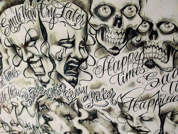 Art Oldies Tattoos Sad Times Tattoo Smile Cry Chicano Arts