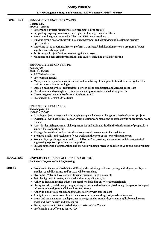 senior civil engineer resume sample pdf  best resume examples