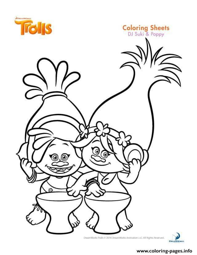 print dj suki poppy trolls coloring pages - Trolls Coloring Pages