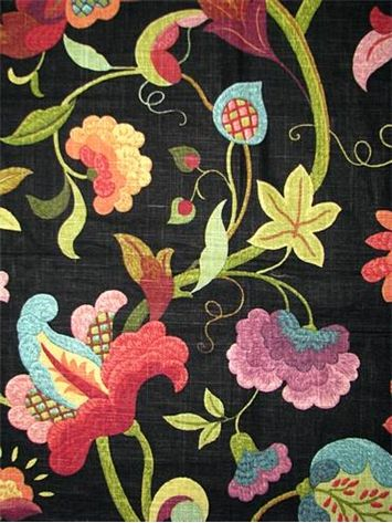 Gloria Prism Pastels On Black Background Very Fresh And Cheerful Floral Print Not Your Typical Jaco Japanese Embroidery Drapery Fabric Printing On Fabric