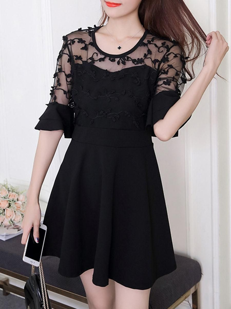 Round neck seethrough plain bell sleeve skater dress rounding
