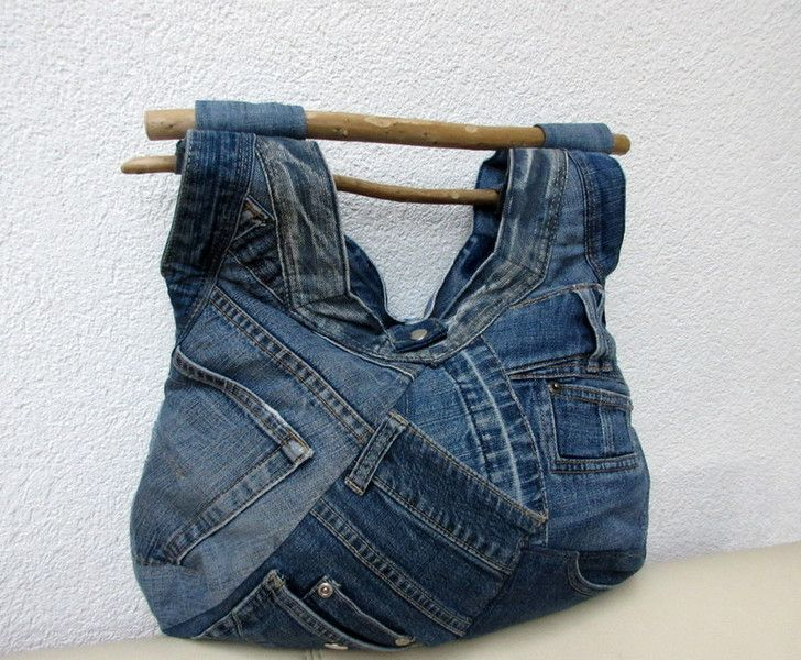 tasche aus jeans mit treibholzgriff upcycling von gasani. Black Bedroom Furniture Sets. Home Design Ideas