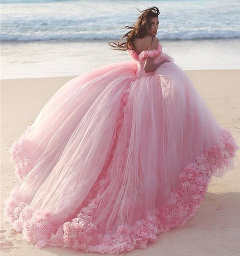 Luxury Pink Flowers Ball Gown Prom Dresses 2016 Arabic Middle East Dubai Formal Evening Party Gowns Puffy Tulle Skirt Quinceanera