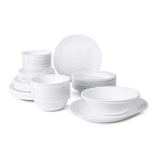 Corelle Livingware 76 Piece Dinnerware Set Service For 12 Winter Frost White Corelle Dinnerware Set Corelle Dinnerware Dinnerware Set White dinnerware sets for 12