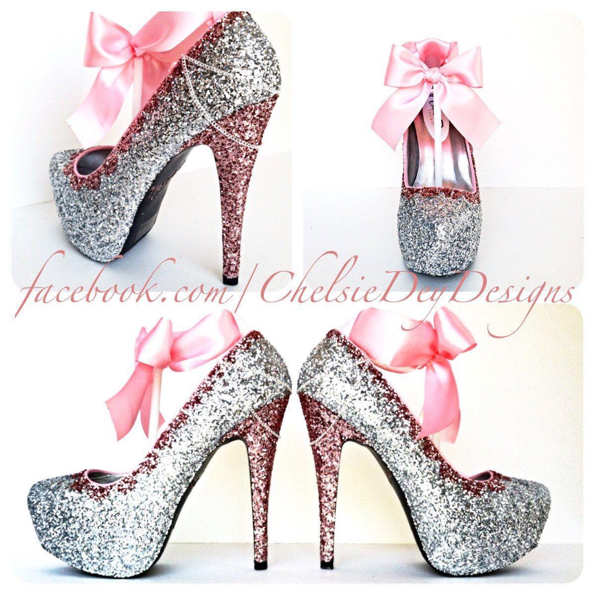 glitter high heels pink and silver pumps bubblegum light pink platform shoes glitzy