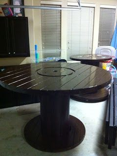 Amici Bello: DIY Cable Spool Tables! #cablespooltables Amici Bello: DIY Cable Spool Tables! #cablespooltables