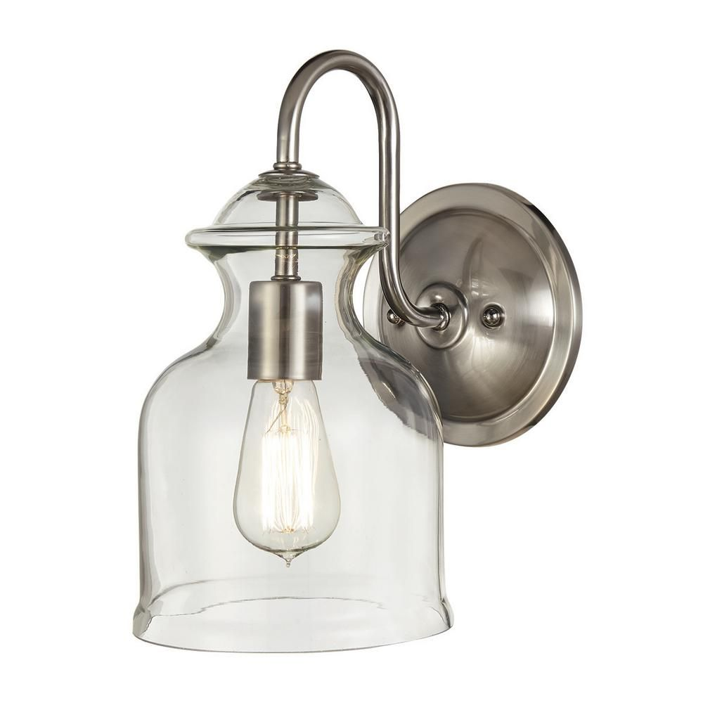 Home Decorators Collection 1-Light Brushed Nickel Wall Sconce with ...