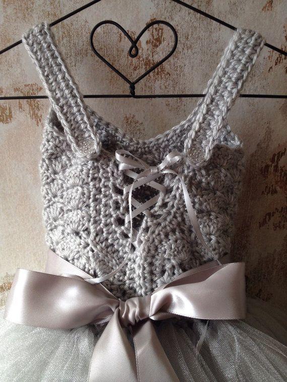 Gray flower girl tutu dress flower girl tutu dress crochet por Qt2t
