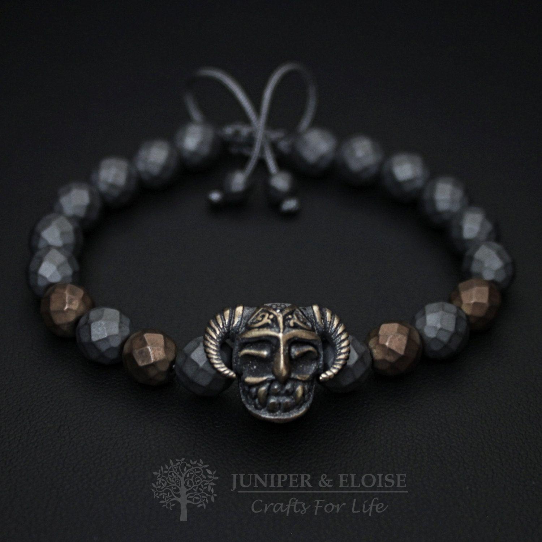 Warrior helmet bracelet mens bracelet helmet charm mens jewelry