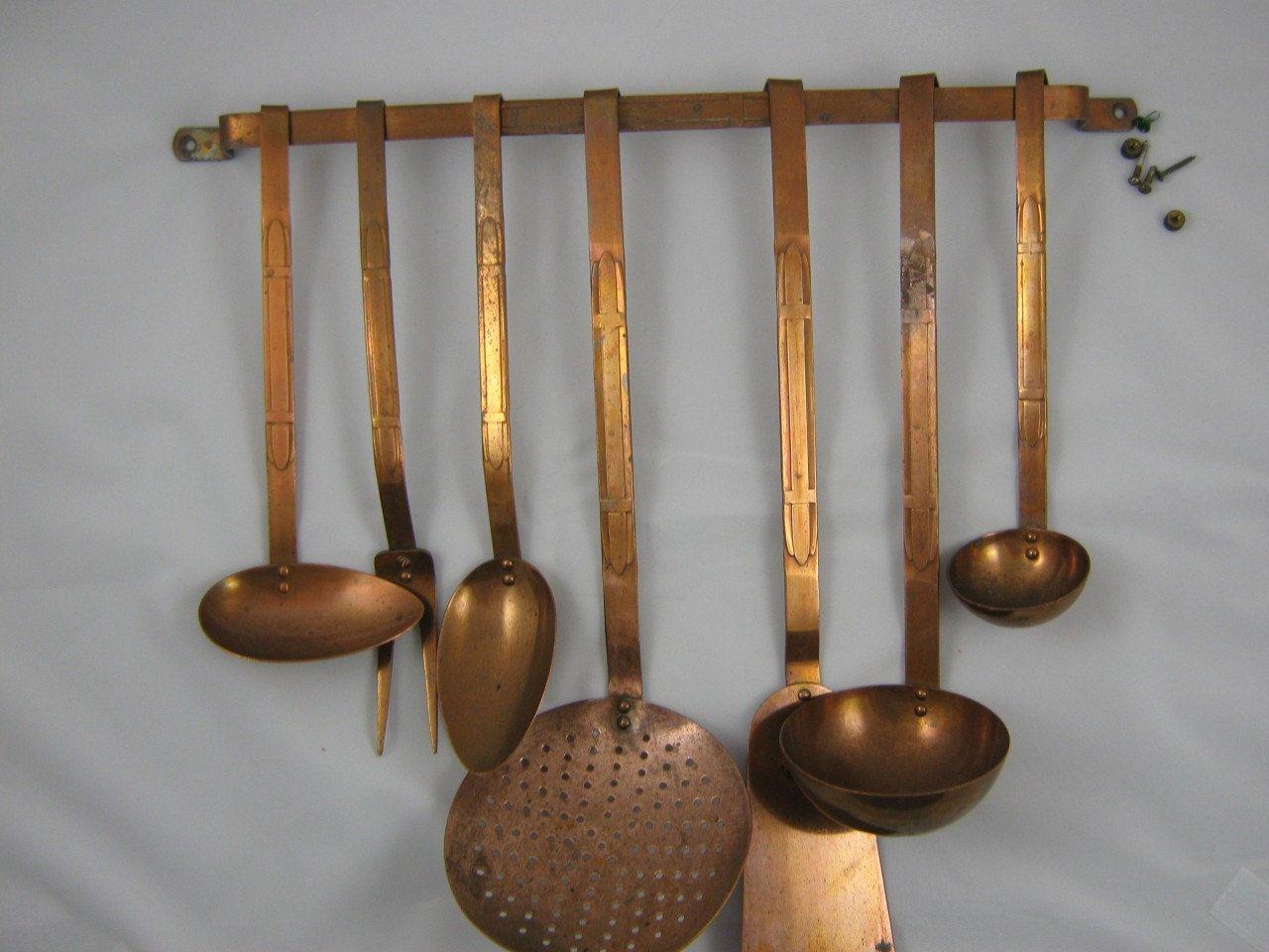 copper kitchen utensil holder nice towels vintage set pinterest