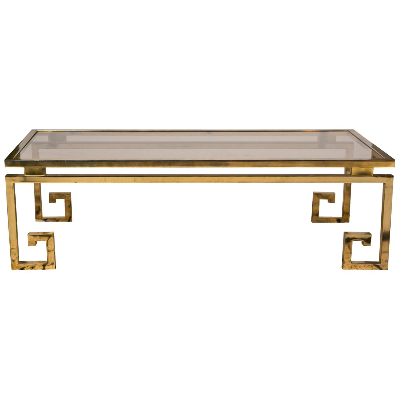 1970's French Brass Coffee Table With Stylized Greek Key