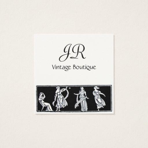 ANTIQUE FASHION / VINTAGE BOUTIQUE MONOGRAM SQUARE BUSINESS CARD #woman #dress #beauty #art