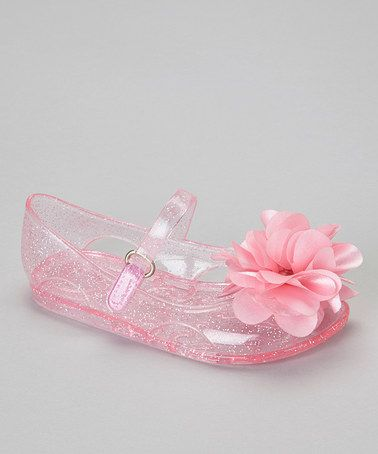 Take a look at this Pink Flower Jelly Sandal by Stepping Stones on #zulily today!