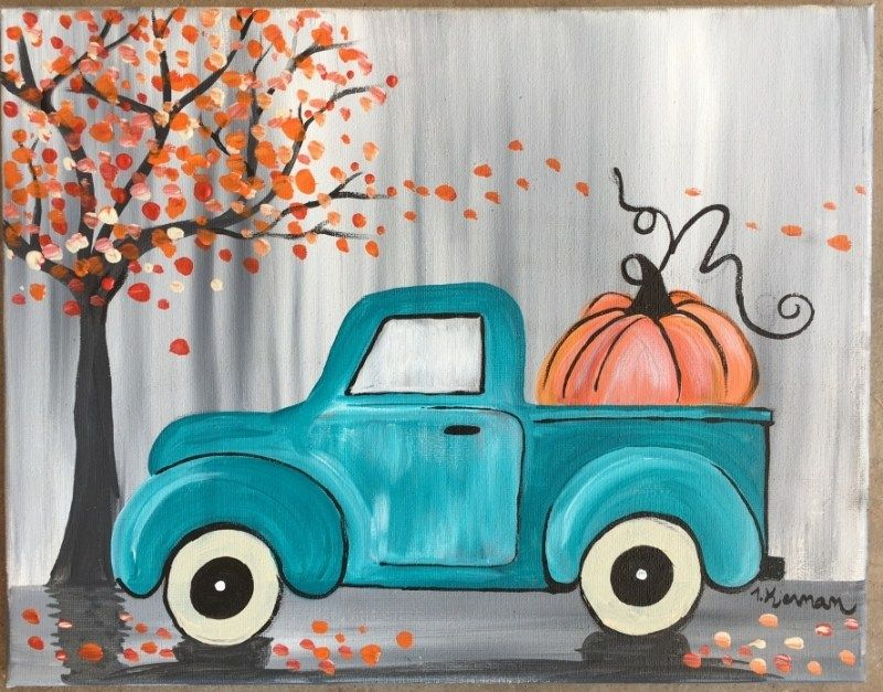How To Paint A Vintage Pumpkin Truck Fall Canvas Painting Fall Canvas Easy Canvas Painting