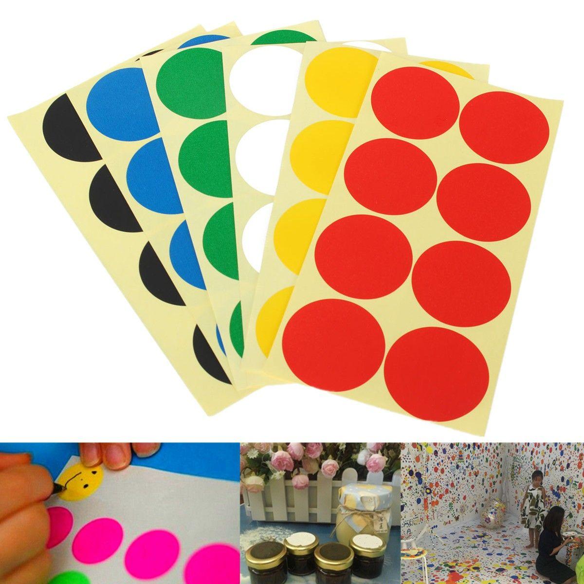 120Pcs 50mm Plastic Vinyl Color Round Code Dot Blank Stickers ...
