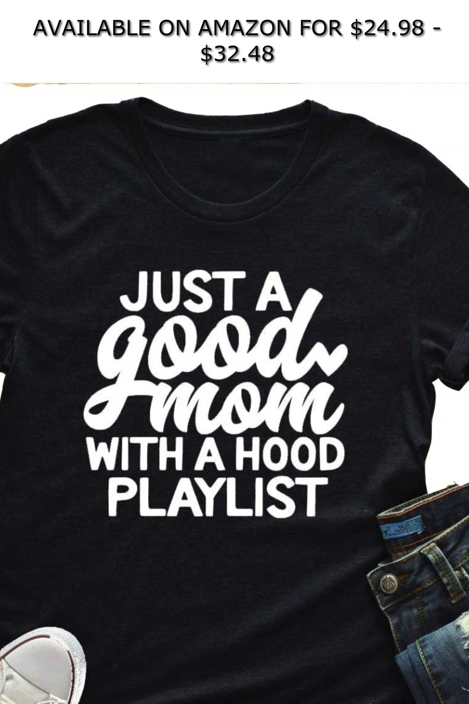 562ba08de0c Tsun Women Just a Good Mom Letter Print Tee Round Neck Short Sleeve T-Shirt