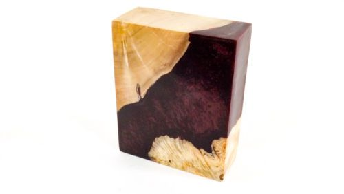 Details about Stabilized Maple Burl Wood & Acrylic Hybrid Block