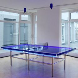 A Beautiful Blue Ping Pong Table.